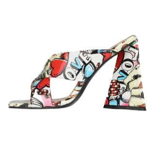 Arden Furtado Summer Fashion 2021 Women's Shoes Sexy Mixed Colors Square Head Elegant Slippers Chunky heels slides Big size 45