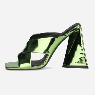 Arden Furtado Summer Fashion 2021 Women's Shoes Sexy Square Head Elegant gold silver green Slippers Chunky heels Big size 43 45
