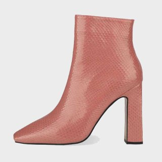 Arden Furtado 2021 Winter Fashion Boots  Elegant Zipper Square Head  Pure Color White Pink Green Ankle Boots Big Size 44 45