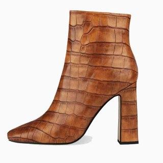 Arden Furtado 2021 Winter Fashion Boots  Elegant Zipper Yellow Serpentine  Ankle Boots Big Size 44 45
