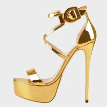 Arden Furtado 2021 Summer Platform  Gold Sandals High Heels Stilettos Heels Women's Shoes Stars Party Shoes