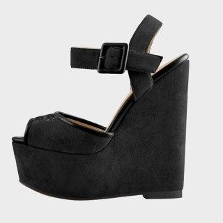 Arden Furtado 2021 Summer Fashion Women's Shoes Sexy Elegant  Suede Buckle Sandals  Strap Wedges Platform Size 44 45