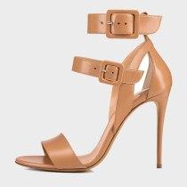 Arden Furtado Summer Fashion Women's Shoes Stilettos Heels  Sexy Elegant Pure Color Apricot Sandals Buckle Party Shoes