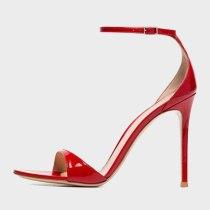 Arden Furtado Summer Fashion Women's Shoes Zipper Stilettos Heels Red Sexy Elegant Pure Color Sandals Buckle Strap Party Shoes
