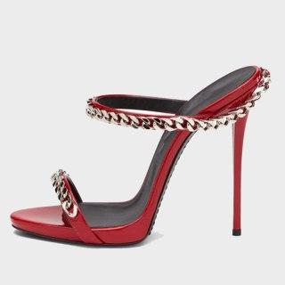 Arden Furtado Summer Fashion Women's Shoes Red Silver Pointed Toe Stilettos Heels New Sexy Metal Chain Elegant Slippers  heels