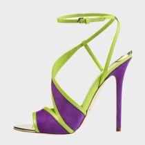 Arden Furtado Summer Fashion Women's Shoes  Stilettos Heels Purple Sexy Elegant Sandals Buckle Strap Party Shoes 45 46