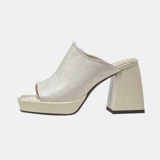 Arden Furtado 2021 Summer Fashion Women's Shoes Heels  Chunky Heels  Beige Apricot  Platform Ladies Slippers  33 40