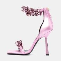 Arden Furtado 2021 Summer Fashion Women's Shoes stilettos heels Sandals Elegant Sexy Metal Chain  Narrow Band party shoes 43
