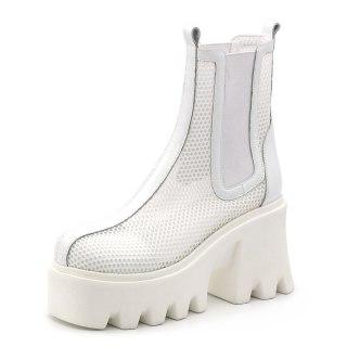 Arden Furtado 2021 Summer Fashion Women's Shoes Sexy Elastic band Chunky Heels Mesh Black Elegant Ankle Boots