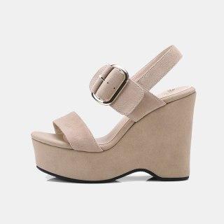 Arden Furtado 2021 Summer Platform Suede  Sandals High Heels Narrow Band  Waterproof  Buckle Women's Shoes Stars Party Shoes 33
