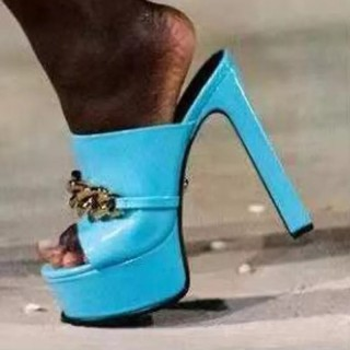 Arden Furtado 2021 Summer Fashion Women's Shoes Heels Metal Chain Chunky Heels  Peep Toe platform ladies Slippers big size 42 43