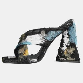 Arden Furtado 2021 Summer Fashion Women's Shoes Heels Denim Square Head Chunky Heels  Ladies Slippers  44 45