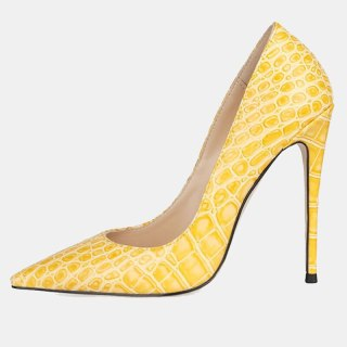 Arden Furtado Fashion Women's Shoes Pointed Toe Stilettos Heels Sexy Yellow  Elegant Pumps High Heels Office Lady shoes 46 47