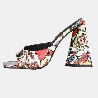 Arden Furtado 2021 Summer Fashion Women's Shoes Heels  Square Head Chunky Heels  Platform Ladies Slippers 44 45