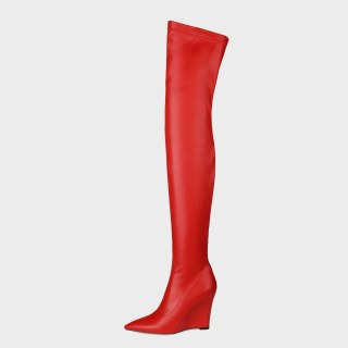 Arden Furtado 2021 Fashion Women's Shoes Winter Orange Green Pointed Toe Wedges Over The Knee High Boots  Big Size 42 43