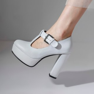 Arden Furtado Spring Autumn Chunky Heels Buckle Sexy New Pointed Toe  Pumps Chunky Heels White High Heels