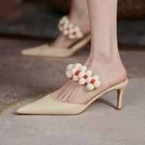 Arden Furtado Summer Fashion 2021 Women's Shoes Genuine Leather Green Elegant Stilettos Heels Slippers 6.5cm Mules