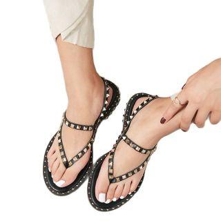 Arden Furtado Summer Buckle Sandals  Pure Color Brown Classics Flats Genuine Leather Narrow Band Rivet Women's Shoes 33-43