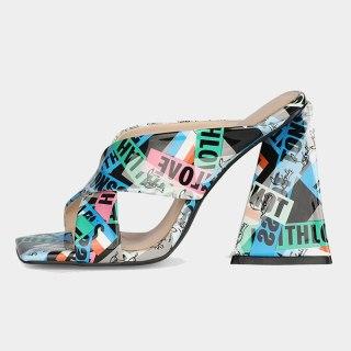 Arden Furtado 2021 Summer Fashion Women's Shoes Heels Square Head Chunky Heels Slippers Big size 44 45