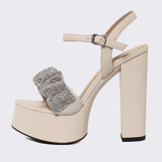 Arden Furtado 2021 Summer Fashion Women's Shoes Sexy Elegant Chunky Heels 13CM Classics Crystal Rhinestone Platform sandals 40