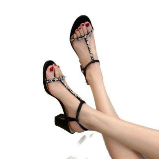 Arden Furtado Summer Fashion Women's Shoes Sexy Crystal Rhinestone Genuine Leather Narrow Band Elegant Chunky Heels  Sandals
