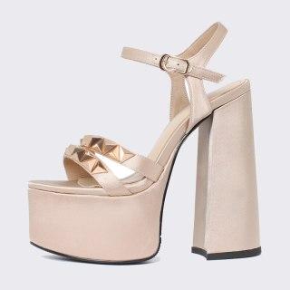 Arden Furtado Summer Fashion Women's Shoes Sexy Waterproof Champagne Rivet Elegant Chunky Heels  Classics Crystal Rhinestone 41