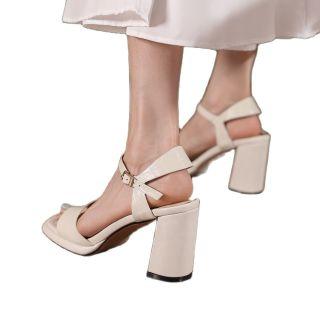 Arden Furtado Summer Fashion Women's Shoes Sexy Genuine Leather Narrow Band Elegant Chunky Heels Classics Big Size 44 42