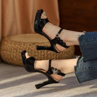 Arden Furtado Summer Fashion Women's Shoes Sexy Genuine Leather Elegant Chunky Heels Classics Big Size 40