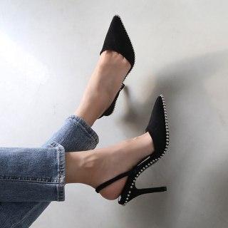Arden Furtado Summer Fashion Women's Shoes Sexy Elegant Stilettos Heels Crystal rivets Sling back Pointed toe Sandals size 33 40