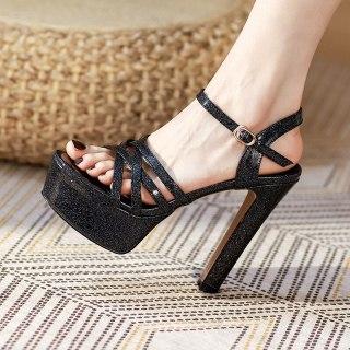 Arden Furtado Summer Fashion Women's Shoes Sexy Waterproof  Elegant Chunky Heels Classics Big Size 40