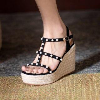 Arden Furtado Summer Fashion Women's Shoes Sexy Pearl Apricot Elegant Classics Buckle Waterproof Platform Sandals 40