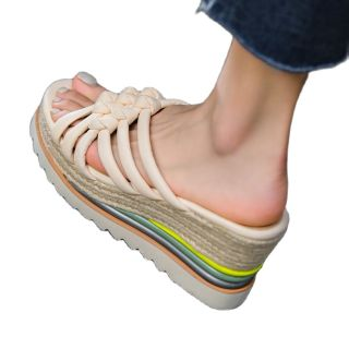 Arden Furtado  Summer Fashion Women's Shoes Narrow Band Blue Wedges Heels Classics Ladies Straw Platform Slippers 40