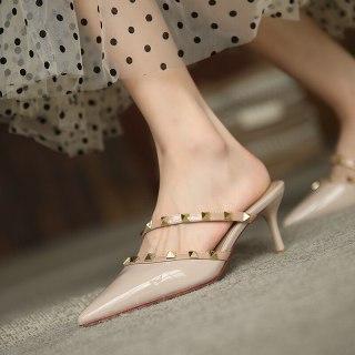 Arden Furtado Summer Fashion  Women's Shoes Sexy Apricot  Elegant Pointed Toe Rivet Stilettos Heels Slippers 6cm Mules 41