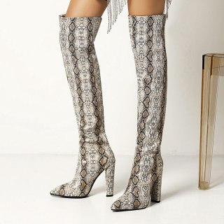 Arden Furtado Fashion Women's Shoes Winter Pointed Toe Serpentine Chunky Heels Mature  Sexy Over The Knee High Boots 43