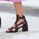 Arden Furtado Summer Fashion Women's Shoes Sexy Crystal Rhinestone Buckle Genuine Leather  Elegant Chunky Heels Sandals 44 45