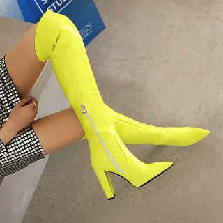 Arden Furtado Fashion Women's Shoes Winter Pointed Toe Red Yellow Chunky Heels Mature  Sexy Over The Knee High Boots 43