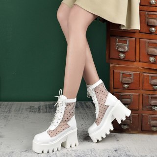 Arden Furtado Summer Fashion Women's Shoes Chunky Heels Elegant  White Wire Side Cross Lacing Platform Square Head Ankle Boots