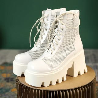 Arden Furtado Summer Fashion Women's Shoes Chunky Heels Elegant  White Wire Side Cross Lacing Platform Ankle Boots