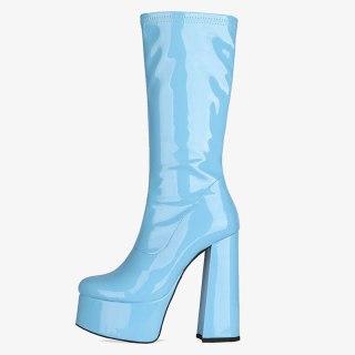 Arden Furtado 2021 Winter Fashion Women's Shoes Chunky Heels Blue  Elegant Sexy Half Boots Yellow Shoes Platform Size 42 43