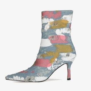 Arden Furtado  Fashion Women's Shoes Winter Ladies Boots Concise Zipper Denim New Stilettos Heels Ankle Boots 44 45