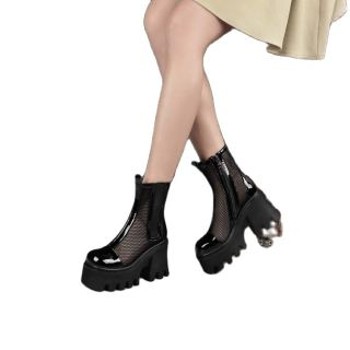 Arden Furtado Summer Fashion Women's Shoes Chunky Heels Elegant Sexy Zipper White Wire Side Platform Square Head Ankle Boots