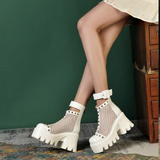 Arden Furtado Summer Fashion Women's Shoes Chunky Heels Elegant  White Wire Side Buckle Platform Square Head Ankle Boots