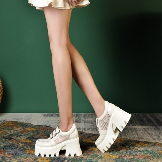 Arden Furtado Summer  Chunky Heels Sexy New Crystal Rhinestone Hook & Loop Genuine Leather Metal Chain Pumps High Heels