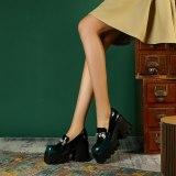 Arden Furtado Spring Autumn Chunky Heels Sexy New Crystal Rhinestone Genuine Leather Metal Chain Pumps High Heels