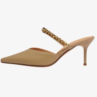 Arden Furtado Summer Fashion Women's Shoes Genuine Leather Elegant Stilettos Heels pointed toe Slippers 7cm metal chains Mules