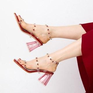 Arden Furtado Summer Fashion Women's Shoes Sexy Red White Buckle strap PVC  Elegant Chunky Heels Crystal Rhinestone Sandals 4142