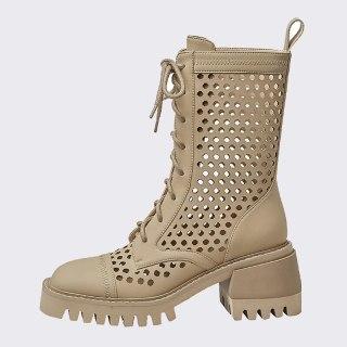 Arden Furtado Summer Fashion Women's Shoes Chunky Heels Apricot  Crystal Heels Matin Boots Mesh Boots Short Boots