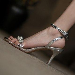 Arden Furtado Summer Fashion Women's Shoes Sexy Metal Chain Genuine Leather  Elegant Stilettos Heels Pointed toe Sandals 40