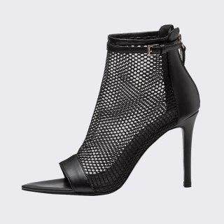 Arden Furtado Summer Fashion Women's Shoes Elegant Genuine Leather Back Zipper Mesh Boots Short Boots Stilettos Heels 40