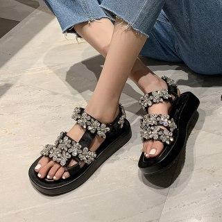 Arden Furtado Summer Fashion Women's Shoes Sexy Hook & Loop Genuine Leather Crystal Rhinestone Sandals 40